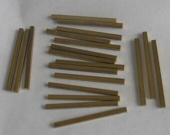 SALE Brass Square Rods  20 pieces 1 oz 38mm long x 2.5mm