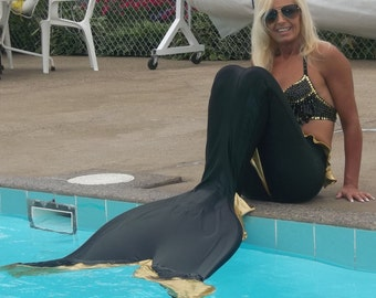 Adult mermaid tail custom fit YOUR monofin or flippers
