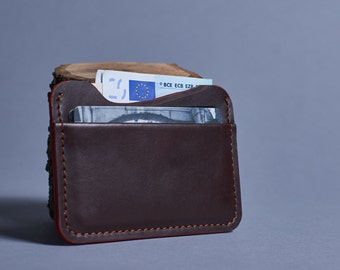 Leather mini wallet. Leather credit card holder. Minimalist wallet. Leather thin wallet. Two slot cards holder.  Brown leather wallet.