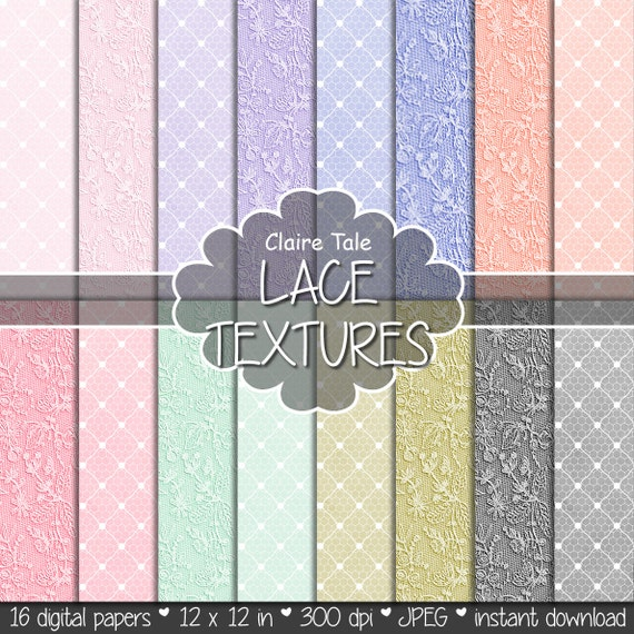 "Lace digital paper: ""LACE TEXTURES"" with pink, lavender, purple, blue, coral, red, mint, green, gold, black lace backgrounds"