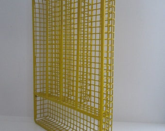 Vintage Wire Utensil Organizer Utensil Tray Flatware Silverware Drawer Tray Yellow Wire Retro Organizer