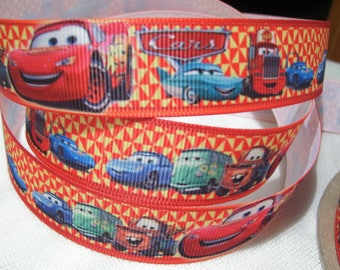 DRIVE CARS Red Ribbon * 22 mm * stripe printed grosgrain Ribbon - sold by the yard