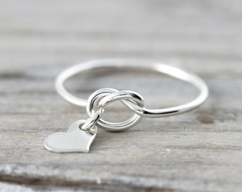 Love knot ring with heart charm - recycled sterling silver ring