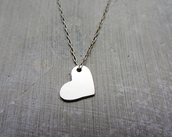 Sterling silver heart pendant necklace, dainty heart pendant necklace
