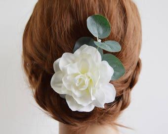 White Rose Hair Clip, eucalyptus hair clip, bridal flower clip, bridal hair accessory, bridal headpiece, bridal floral clip, bridesmaid