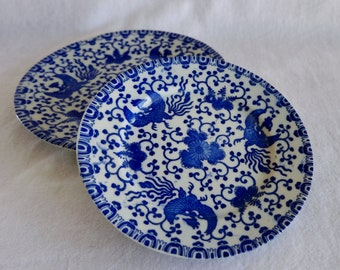 Two antique WWII Blue Phoenix plates handmade in Japan