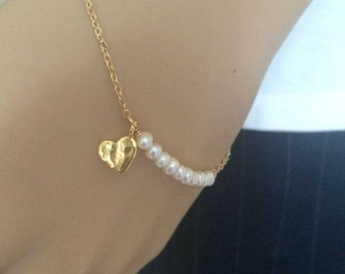 Tiny Freshwater Pearl bracelet with hammered heart in Gold fill or Sterling Silver