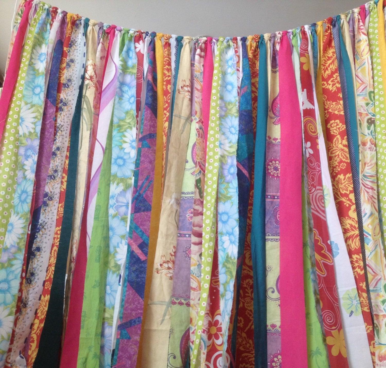 Boho Curtains Rustic Rag Fabric Ribbon Garland Backdrop
