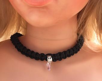 Black Choker Collar, Women Choker Collar, Black Charm Choker, Thick Choker Collar, Paracord, Discreet BDSM Collar, Discreet Day Collar