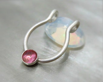 fake septum piercing /  clip on septum ring - pink tourmaline septum ring