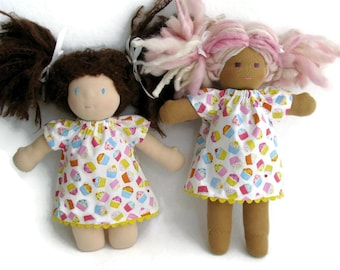 Waldorf Doll Dress, Colorful Cupcakes Doll Dress, Handmade Doll Dress, cotton doll dress, optional white bloomers for 10 to 12 inch doll