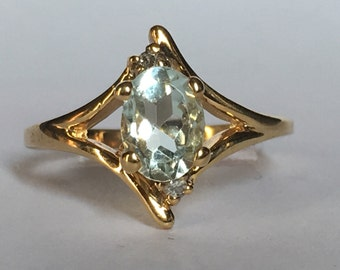 Vintage Aquamarine and Diamond Ring. 10k Yellow Gold. Unique Engagement Ring. March Birthstone. 19th Anniversary Gift. Estate Jewelry