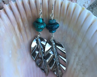 Turquoise and Fine silver shaped into a Leaf to makeDangle Earrings