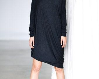 Minimalist Maxi Dress / Charcoal Dress / Casually Loose Tunic / Midi Dress / Drape Top/ Modern Asymmetrical Dress by Arya Sense /DFRD14BM