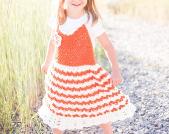 Orange Sunrise Halter Dress-Size 4T-6T