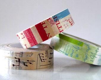 Japanese Graffiti Washi Tape Set LIGHT (A) Artistic Collage Masking Tapes Set of 3