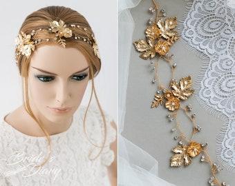Wedding hair jewelry, bridal hair vine, golden wedding hairpiece, vintage hairpiece
