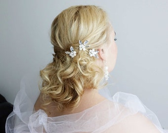 Silver Wedding Hair Pins.Set of 3 Bridal hair pins. Bridal headpiece. Wedding hairpiece. Bridal hairpiece.