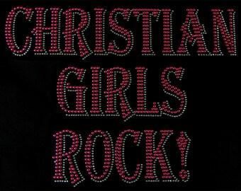 CHRISTIAN GIRLS ROCK Pink Nailhead Iron on Applique