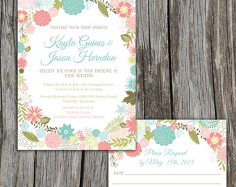 Rustic Shabby Chic Floral Flower Garden Wedding Invitation and RSVP Reply Card, Pick Your Colors, Printable DIY Digital Files