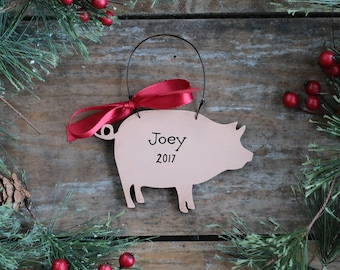 Pig Ornament, Personalized Christmas Ornament, Farm Animal Ornament, Gift for Pig Lover, Hand Painted Ornament, Farmhouse Christmas Ornament