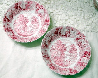 Two Wood and Sons English Scenery Cereal Bowls, Red