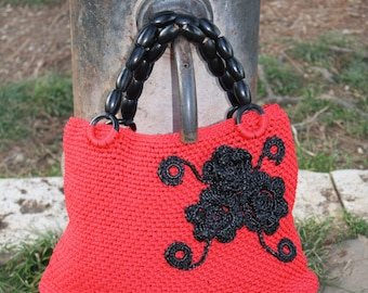 Red bag with flowers