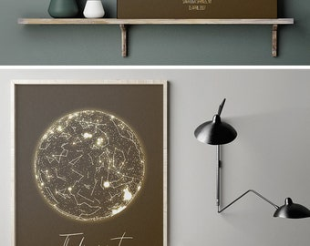 Star Map Custom Poster, Astrological Star Chart, Romantic Gemini Gifts For Her, Night Sky Poster,Costellation Art Map Print New Baby Gift