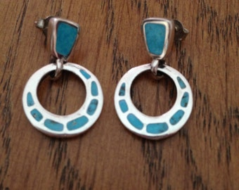 Barse Sterling Silver and Turquoise Inlay Earrings