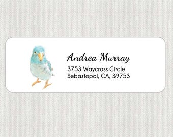 Blue Turquoise Lovebird Return Address Labels - Bird Stickers - Personalized - Cute - Minimal - Animal - Art
