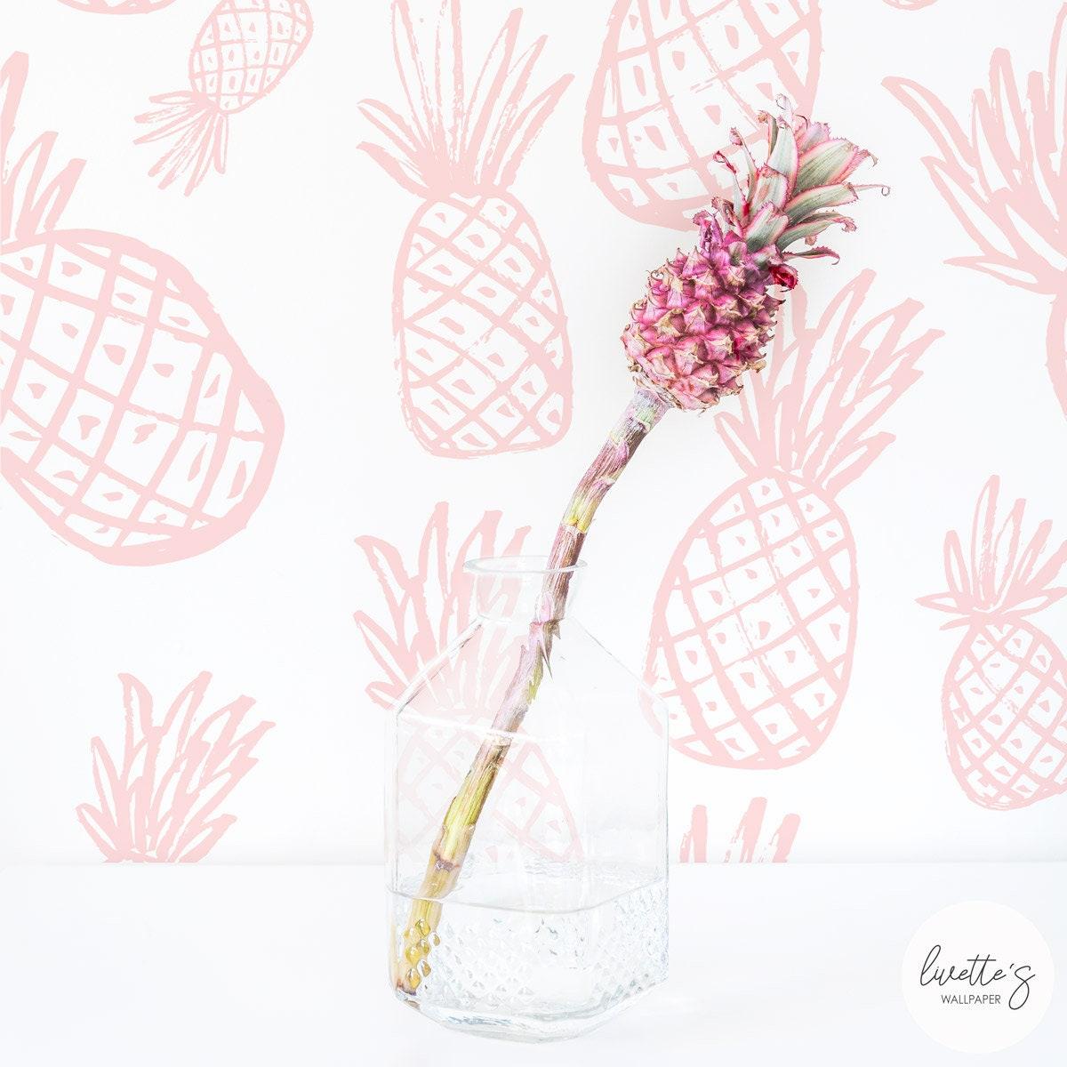 Tropischen Ananas Wallpaper / Pastell selbst Klebstoff