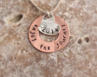 Graduation Necklace - Enjoy the Journey 2016 - Hand Stamped Jewelry - Graduate Gift High School College Graduation