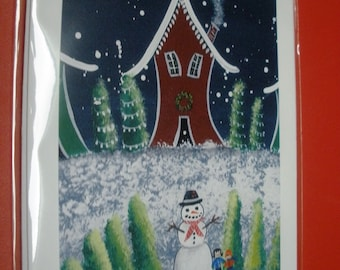 Crooked Winter Houses Art Cards