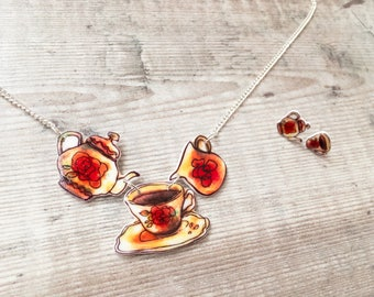 Vintage teaset - Jewellery set - Teapot necklace - Tea cup necklace - Tea cup earrings - Tea lover - Gift for her - Mother's Day