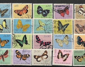 20 Butterfly Stamps - 1953 from Mozambique -  Collage, Kids Crafts, Collections, Altered Art