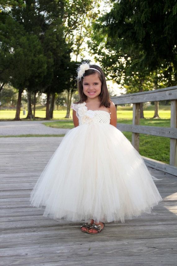 Elegant ivory flower girl tutu dress flower girl dress tutu mightylinksfo