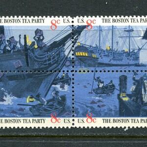 Boston Tea Party Stamps  /Unused 2 Blocks Of Four = 8 Vintage Stamps 1960's