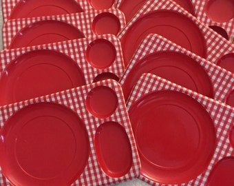 Red Gingham Dinner Trays Vintage TV Trays Vintage Glamping Trays