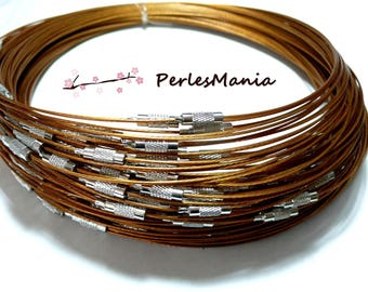2 NECKLACES turns of the neck rigid wire 1 mm CARAMEL colored 7 ref 6