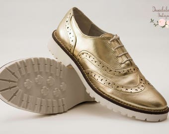 Oxford Gold Metallic  Modern Shoes