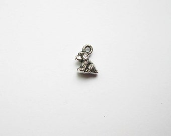 10 Small Dog Charms in Silver Tone - C1200