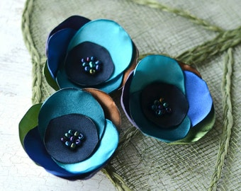 Satin fabric flowers, silk flower appliques, small satin roses, rainbow wedding flowers, flower embellishment (3pcs)- BLUE PEACOCK ROSES