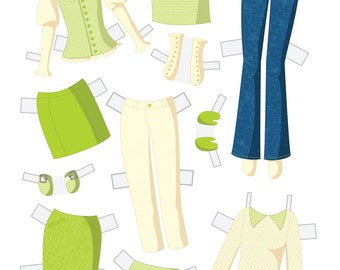 Build Your Own Set Instant Download Paper Doll Wardrobe - Feeling Green