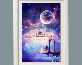 Sailor Moon mercury mars venus fantasy scenery art poster
