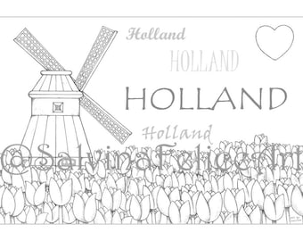 Holland City Coloring pages, download, digital print from my original stretch design, coloring, downloadable now, Dutch landscape
