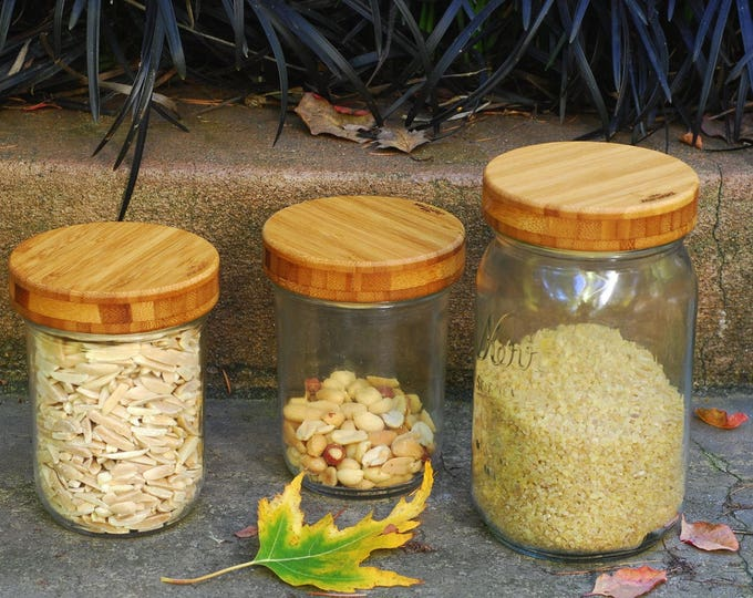 3 Bamboo Mason Jar Lids with Seal - Wide Mouth - True screw top.