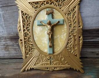 Vintage Religious Crucifix gold Art Deco frame Jesus cross wall hanging altar shrine prayer