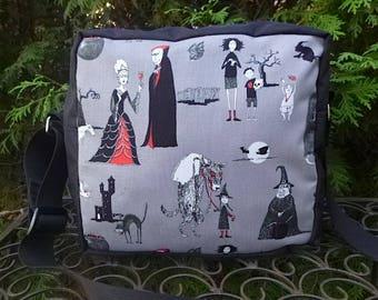 Halloween shoulder bag, zippered cross body bag, medium sized, It's an Odd World, The Raccoon