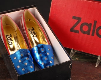 Zalo, American Flag Shoes, Spain, Size 6 1/2 med.
