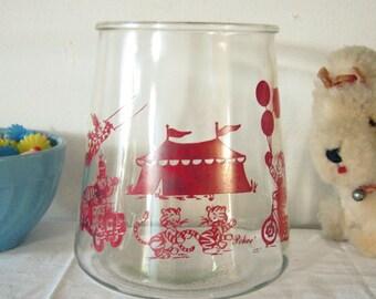 Vintage Glass Jar Large Circus Theme Red